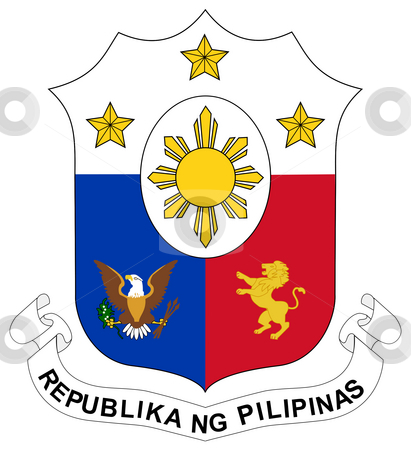Philippines Coat of Arms stock photo, Philippines coat of arms, seal or national emblem, isolated on white background. by Martin Crowdy