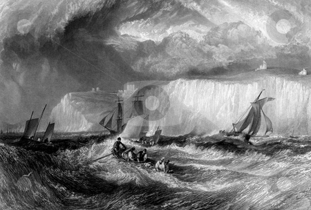 White Cliffs of Dover stock photo, Sailing in rough sea with white cliffs of Dover in background, England. Engraved by William Miller in 1838, public domain image by virtue of age. by Martin Crowdy