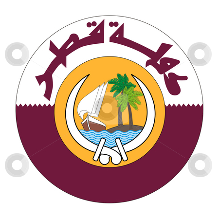 Qatar Coat of Arms stock photo, Qatar coat of arms, seal or national emblem, isolated on white background. by Martin Crowdy