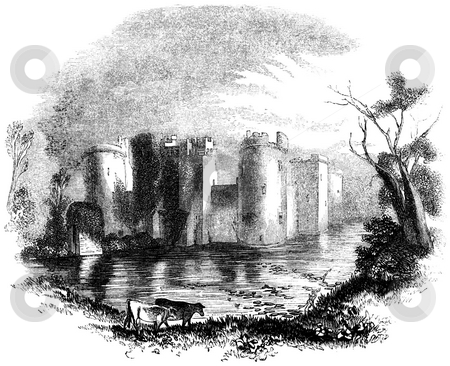 Bodiam Castle stock photo, Engraving of Bodiam Castle and moat, East Sussex, England. Source 1845 book by Charles Knight,