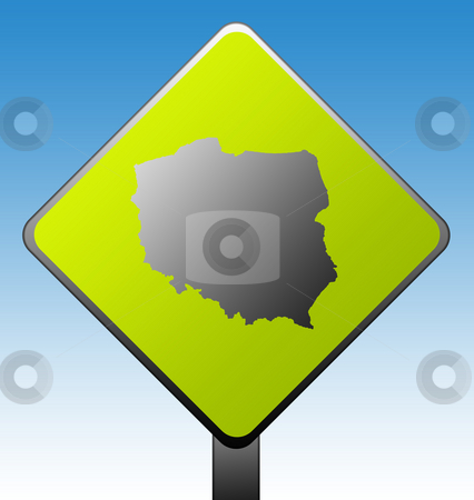Poland road sign stock photo, Black silhouetted map of Poland on green diamond shaped road sign with gradient blue sky background. by Martin Crowdy