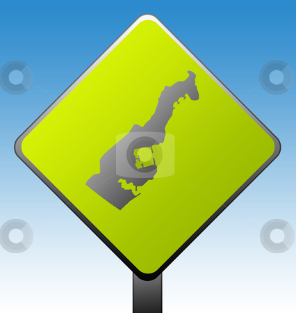 Monaco road sign stock photo, Black silhouetted map of Monaco on green diamond shaped road sign with gradient blue sky background. by Martin Crowdy