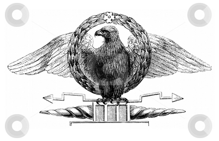 Roman eagle standard stock photo, Illustration of traditional Roman army Eagle standard with white background. Scanned from book by Charles Knight,