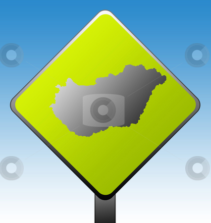 Hungary road sign stock photo, Black silhouetted map of Hungary on green diamond shaped road sign with gradient blue sky background. by Martin Crowdy