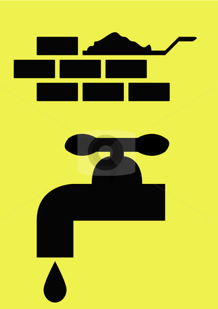 Plumbing and building icons stock photo, Silhouetted plumbing and building icons in black, yellow background. by Martin Crowdy
