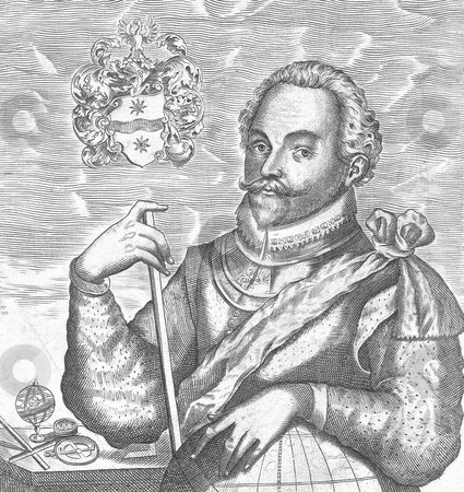 Sir Francis Drake stock photo, Engraving of Sir Francis Drake. Source, published as frontispiece to his nephew's The World Encompassed, London Rare Books Division 1628. Public domain image by virtue of age by Martin Crowdy
