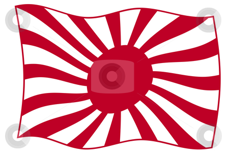 Japanese Rising Sun Flag stock photo, Waving Japanese Rising Sun flag in red, isolated on white background. by Martin Crowdy