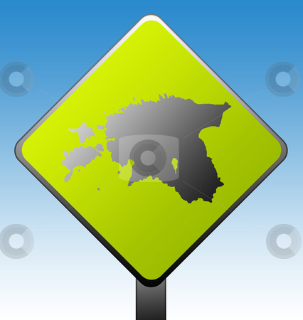 Estonia road sign stock photo, Black silhouetted map of Estonia on green diamond shaped road sign with gradient blue sky background. by Martin Crowdy