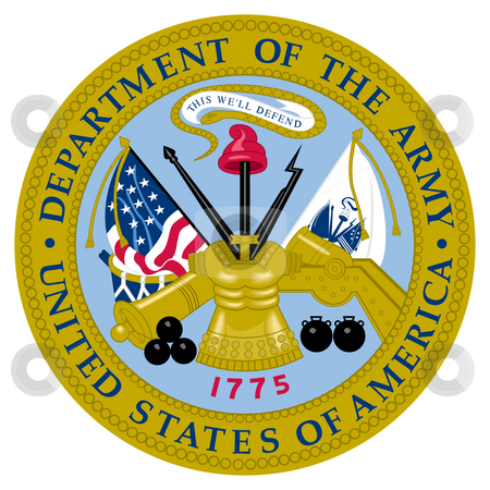 United States Army Seal stock photo, United States of America army seal isolated on white background. by Martin Crowdy