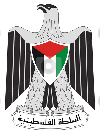 Palestinian National Authority stock photo, Palestine or Palestinian National Authority coat of arms, seal or national emblem, isolated on white background. by Martin Crowdy