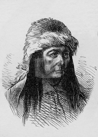 Sitting Bull stock photo, Sketch of Sitting Bull by Jerome Stillson for the New York Herald, published in the Dec. 8, 1877 issue of Harper's Weekly. Public domain image by virtue of age. by Martin Crowdy
