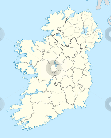 Ireland Map stock photo, Map of Ireland with country borders illustrated on blue background. by Martin Crowdy