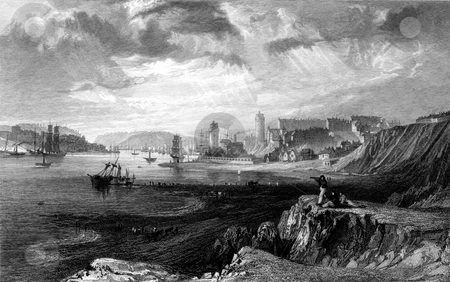 North and South Sheilds stock photo, North and South Sheilds coastline at mouth of river Tyne viewed from Teignmouth Rocks, Tyne and Wear, England. Engraved by William Miller in 1832, public domain image by virtue of age. by Martin Crowdy