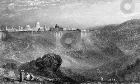 Ancient city of Jerusalem stock photo, Engraving of Ancient city of Jerusalem viewed from surrounding hills. Engraved by William Miller in 1836, public domain image by virtue of age by Martin Crowdy