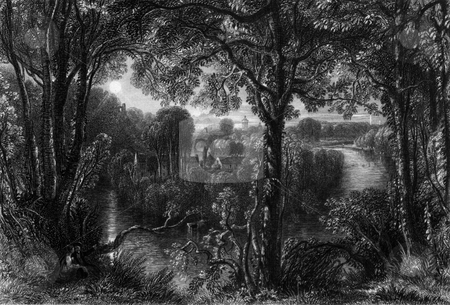 River Doon stock photo, River Doon in South Ayrshire viewed through forest, Scotland. Engraved by William Miller in 1840, public domain image by virtue of age. by Martin Crowdy