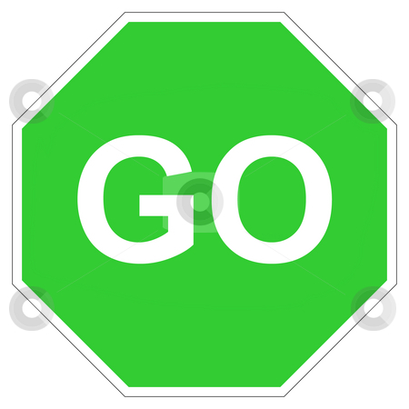 Green go sign stock photo, Hexagonal green go sign isolated on white background. by Martin Crowdy