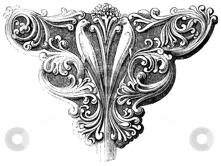 Foliage bracket stock photo, Wood engraving of stone foliage bracket. Sourced from 1845 book by Charles Knight,  by Martin Crowdy