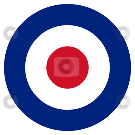 RAF Roundel stock photo, RAF roundel or mod target sign, isolated on white background. by Martin Crowdy