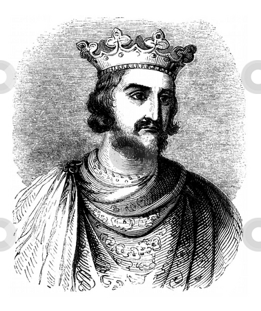 King Henry III stock photo, Engraved portrait of King Henry III of England on white background. Sourced from book by Charles Knight,