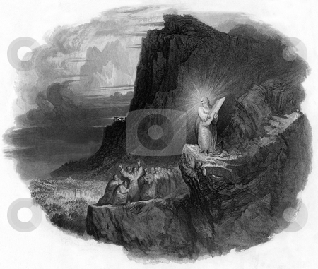 Moses on Mount Sinai stock photo, Vignette of Moses with ten commandments stone tablet of Mount Sinai, crowd of people in background. Engraved by William Miller in 1847, public domain image by virtue of age. by Martin Crowdy
