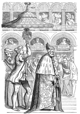 Procession of Doge of Venice stock photo, 16th Century illustration of Grand Procession of the Doge, Venice (Sixteenth Century). Published in Paul Lacroix's Manners, Custom and Dress During the Middle Ages and During the Renaissance Period. Public domain image by viture of age. by Martin Crowdy