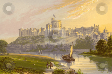 Windsor Castle stock photo, Watercolor painting of Windsor Castle with Thames river in foreground, Berkshire, England. Souce, published by Morris, F. O. in book  by Martin Crowdy