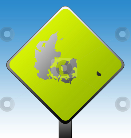 Denmark road sign stock photo, Black silhouetted map of Denmark on green diamond shaped road sign with gradient blue sky background. by Martin Crowdy