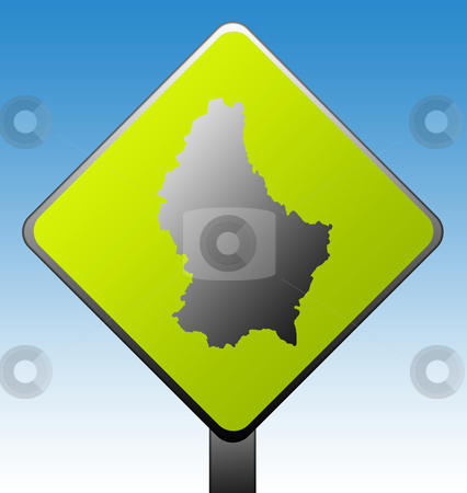 Luxembourg road sign stock photo, Black silhouetted map of Luxembourg on green diamond shaped road sign with gradient blue sky background. by Martin Crowdy