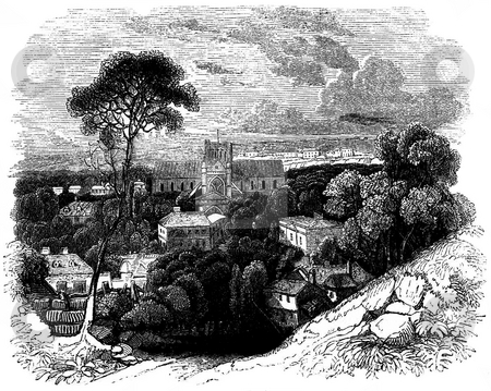 Winchester Cathedral stock photo, Victorian engraving of Winchester cathedral, Hampshire, England. Source, published in book by Charles Knight,