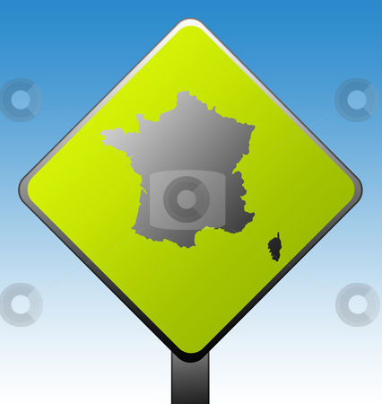 France road sign stock photo, Black silhouetted map of France on green diamond shaped road sign with gradient blue sky background. by Martin Crowdy