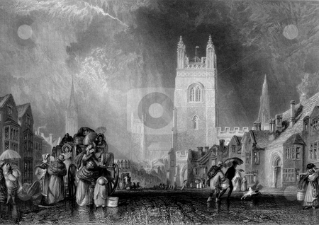 Lincoln town and church stock photo, Victorian engraving of people on cobbled street with St. Martin's church in background, Lincoln, Lincolnshire, England, Engraved by William Miller in 1838, public domain image by virtue of age. by Martin Crowdy