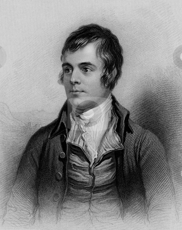 Robert Burns stock photo, Scottish poet Robert Burns, engraving from A Biographical Dictionary of Eminent Scotsmen, 1870. Public domain image by virtue of age. by Martin Crowdy