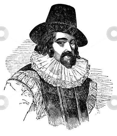 Francis Bacon stock photo, Engraving of Francis Bacon with white background. Sourced from book by Charles Knight,