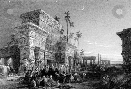 Ancient Egypt stock photo, Crowd of arabs in desert with ancient Egyptian buildings in background under starry sky. Engraved by William Miller in 1832, public domain image by virtue of age. by Martin Crowdy