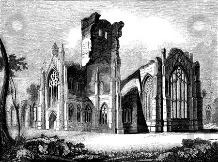 Melrose Abbey Ruins stock photo, Engraving of Melrose Abbey ruins, Scotland. Melrose Abbey is a Gothic-style abbey in Melrose, Scotland. It was founded in 1136 by Cistercian monks. Sourced from book by Charles Knight,