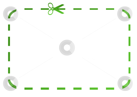 Blank green eco coupon stock photo, Blank green eco coupon with scissors, isolated on  white background. by Martin Crowdy