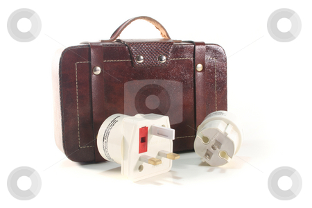 Travel Plug stock photo, Travel Plug for Distance travel with luggage on white background by Marén Wischnewski