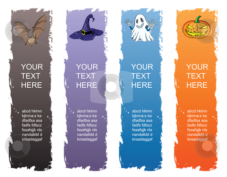 Halloween banner stock vector clipart, Halloween banner, standard size as vertical banner size (skycraper) 160 x 600. by Mtkang