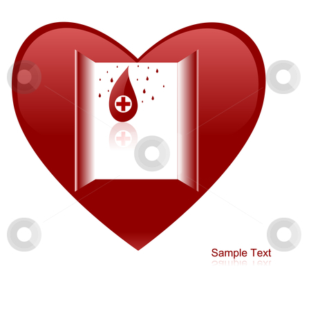 Heart stock vector clipart, Editable vector background - heart and blood drops conceptual illustration. by Gordan Poropat