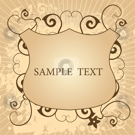 Retro style shield stock vector clipart, Editable vector grunge background - retro style shield with space for your text by Gordan Poropat
