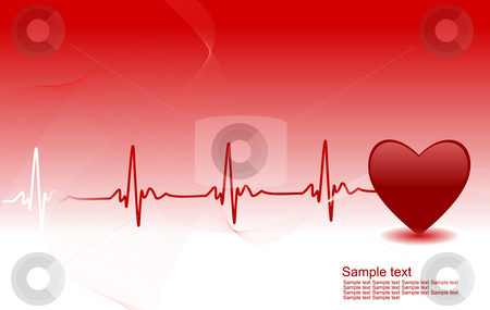 Heartbeat stock vector clipart, Editable vector background with space for your text - heart and heartbeat symbol by Gordan Poropat