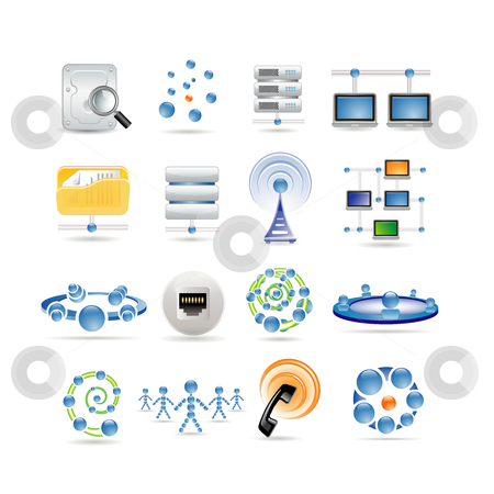 Connection and Internet icons stock vector clipart, Connection and Internet icons by Ika