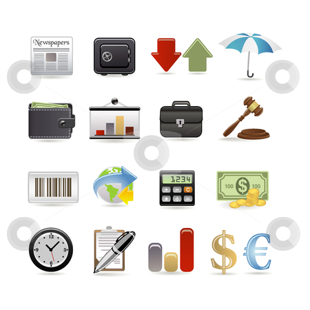 Finance icon set stock vector clipart, Finance icon set by Ika