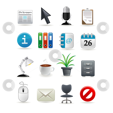Office icon set stock vector clipart, Office icon set for web. Vector illustration by Ika