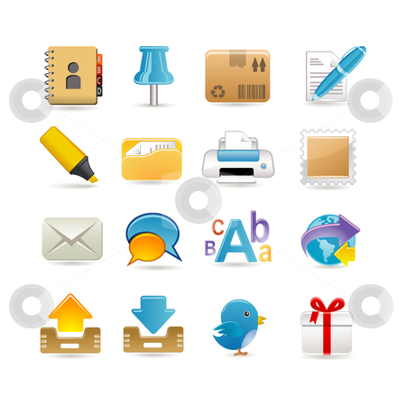 Post office set stock vector clipart, Post office set by Ika