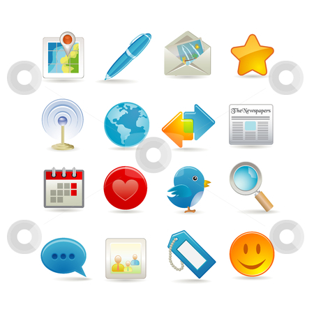 Social media set stock vector clipart, Social media set by Ika