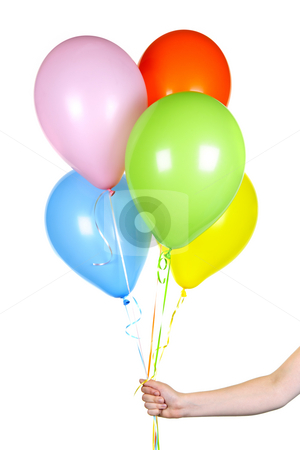 Hand holding balloons on white stock photo, Hand holding colorful helium balloons isolated on white background by Elena Elisseeva