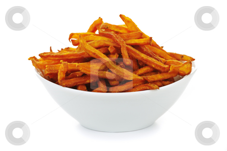 Sweet potato fries stock photo, Sweet potato or yam fries in a bowl isolated on white background by Elena Elisseeva