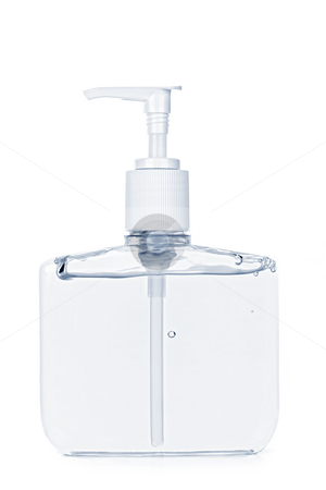 Hand sanitizer pump bottle stock photo, Isolated hand sanitizer soap dispenser on white background by Elena Elisseeva