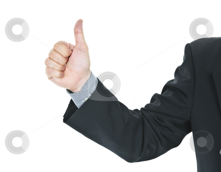 Man giving thumbs up gesture stock photo, Business man giving thumbs up hand gesture by Elena Elisseeva